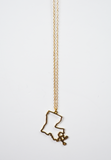 louisiana outline necklace