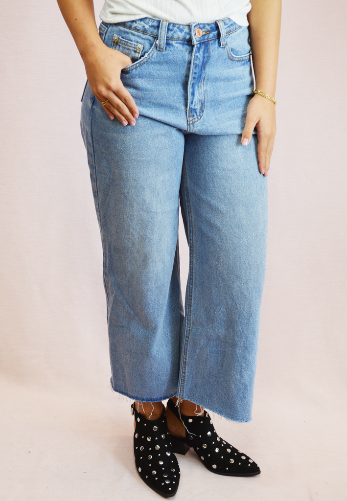 vintage flare cropped jeans - lightwash