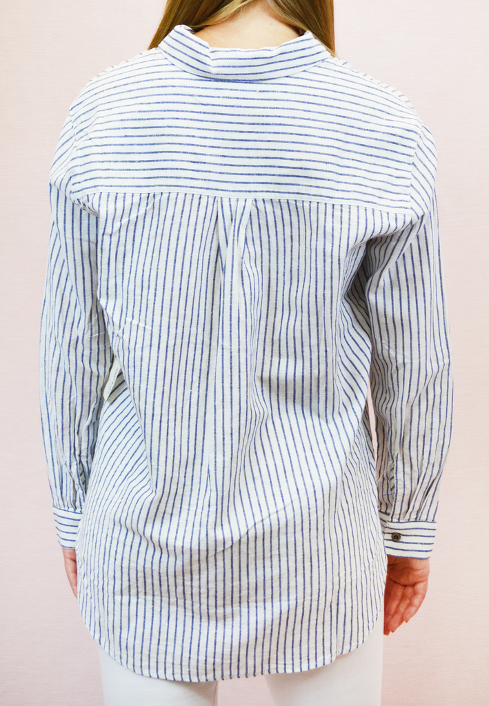 it's a classic striped button up - navy/white