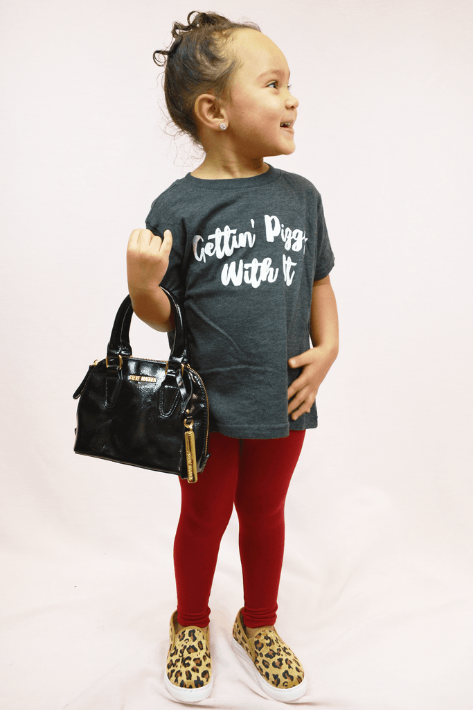 hey y'all toddler piggy with it tee - grey