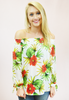 Tropical Delight Off The Shoulder Top - White/Red