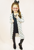 lightweight striped cardigan - black/white