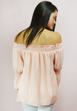 chiffon dream off shoulder top - pink