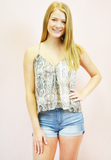 own the night criss cross snake tank - white/brown