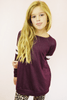 jersey striped tunic - burgundy