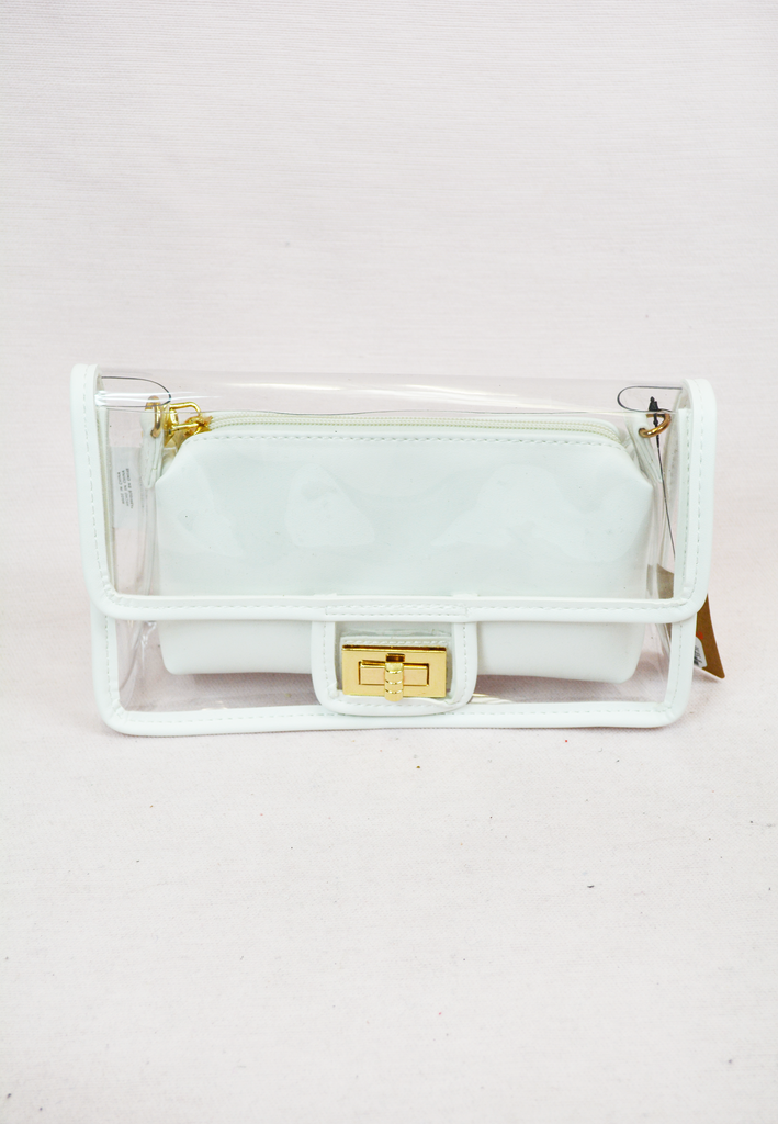 medium clear gameday purse w/ pouch - white