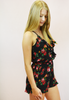 in bloom floral romper - black/red