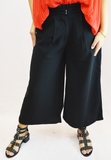 ruffled flare pants - black