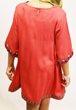 Embroidered Bell Sleeve Dress - Tomato