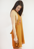 flower child halter dress - cognac