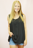 the chiffon tank - black