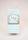 Lulujo Baby Cotton Muslin Swaddle - Aqua Stripe