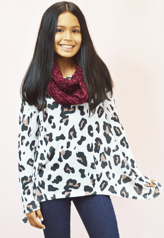 leopard sweater top - grey
