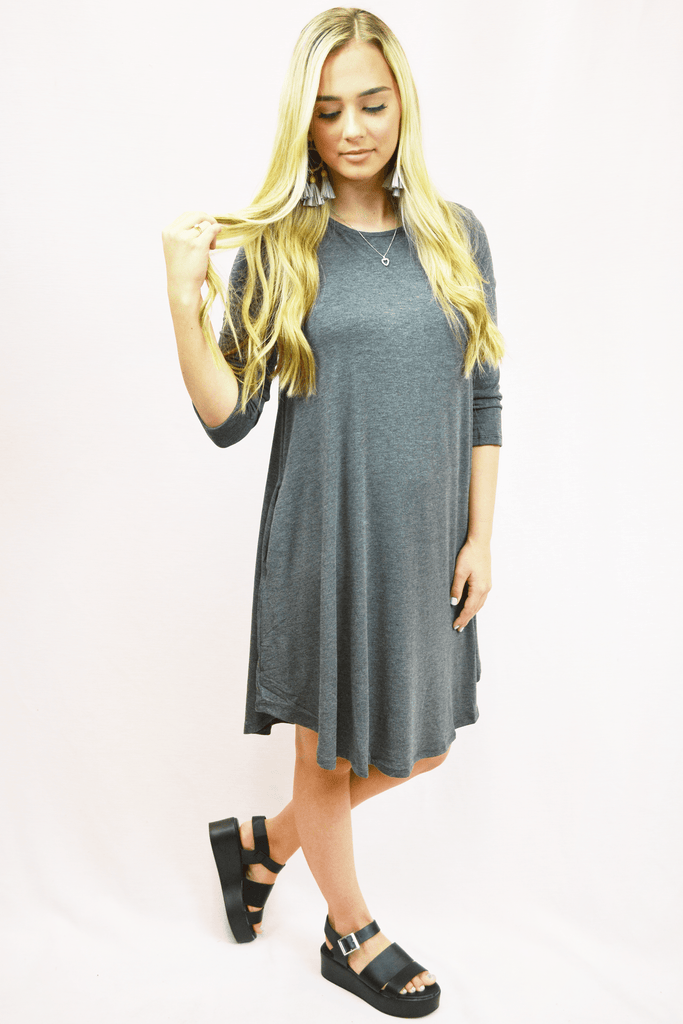 3/4 sleeve pocket dress - charcoal