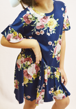 asymmetrical floral dress - navy/multi