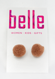 pom squad earrings - taupe