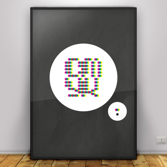 CMYK - typographic font design poster