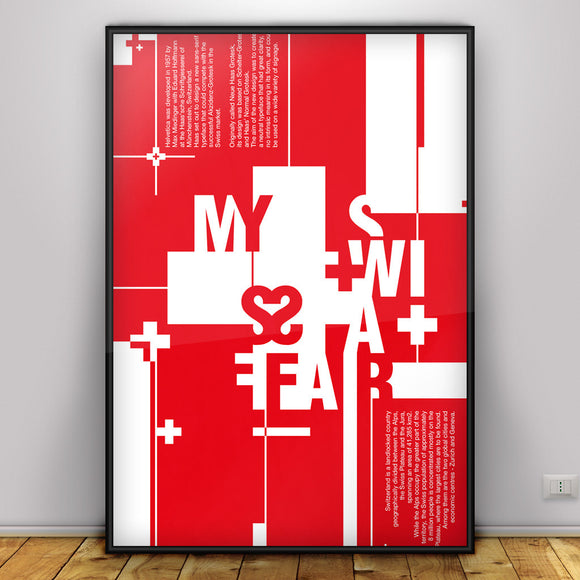 My Swiss Affair - typographic font design poster