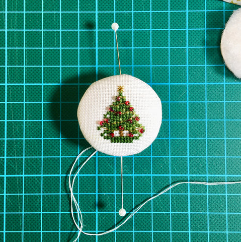 Little Christmas Tree held in place with glass-headed pins