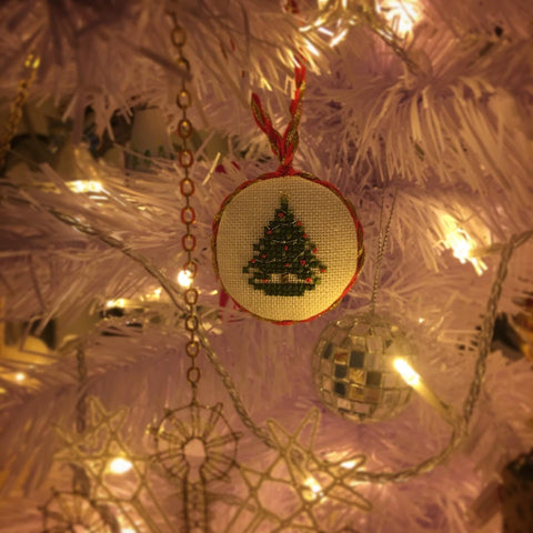 Little Christmas Tree ornament hanging on a Christmas tree