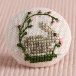 Spring Rabbit: Hand-Embroidered Pin