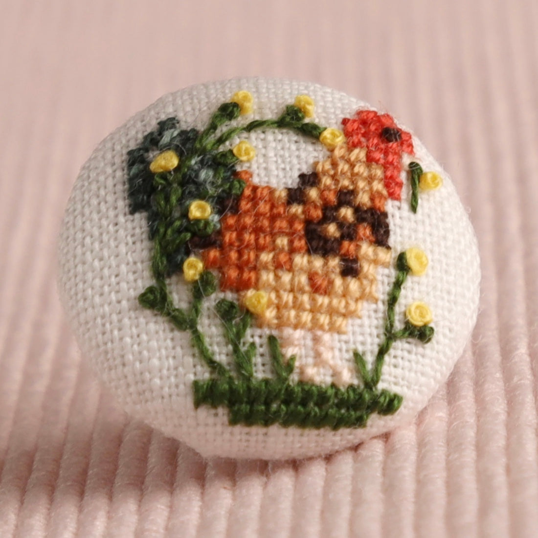 Spring Cockerel: Hand-Embroidered Pin