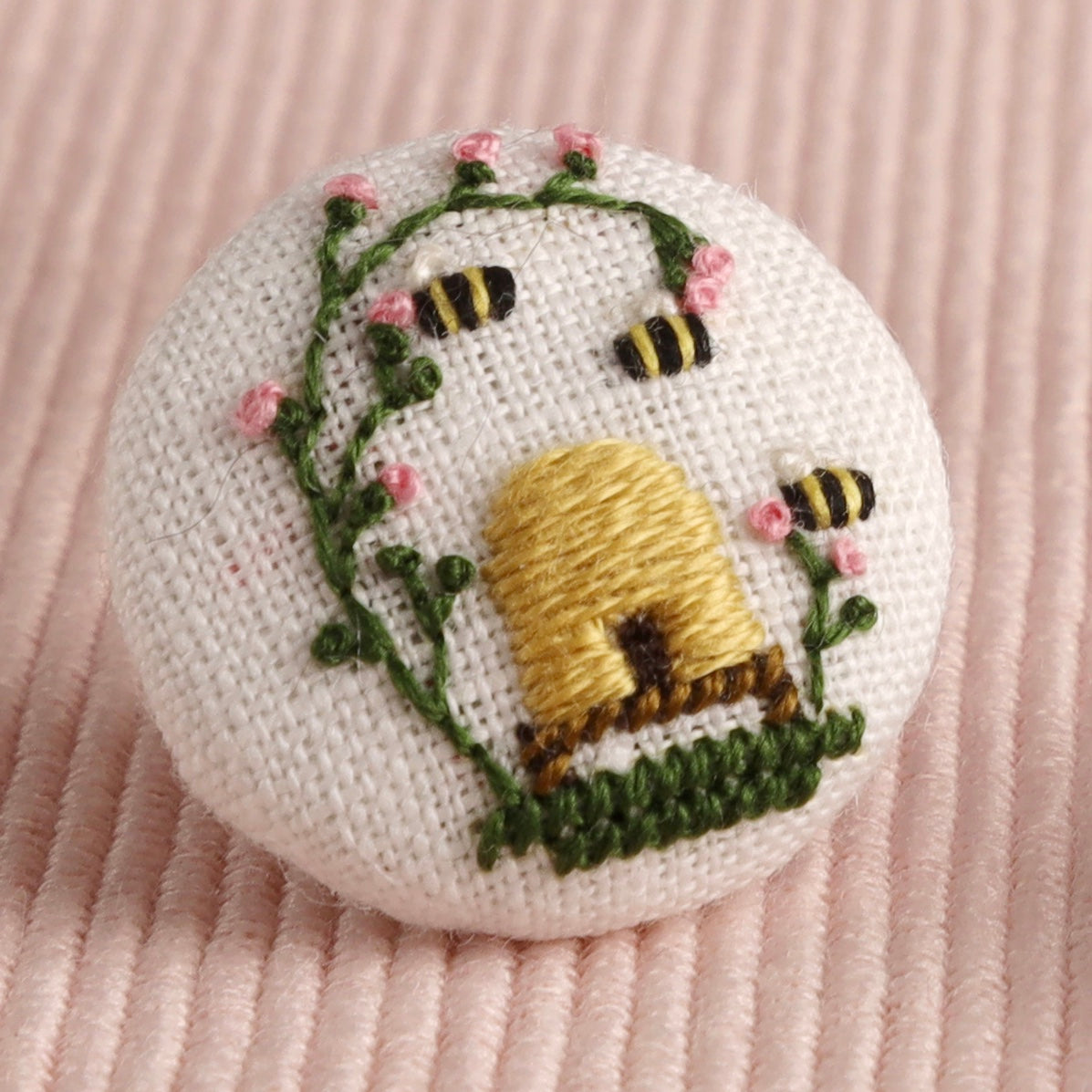 Spring Beehive: Hand-Embroidered Pin
