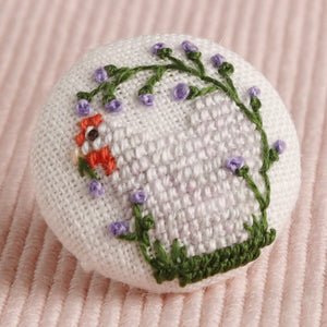 Anona's Lavender Pekin: Hand-Embroidered Pin