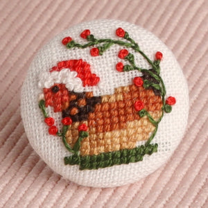 The Happy Chicken: Hand-Embroidered Pin