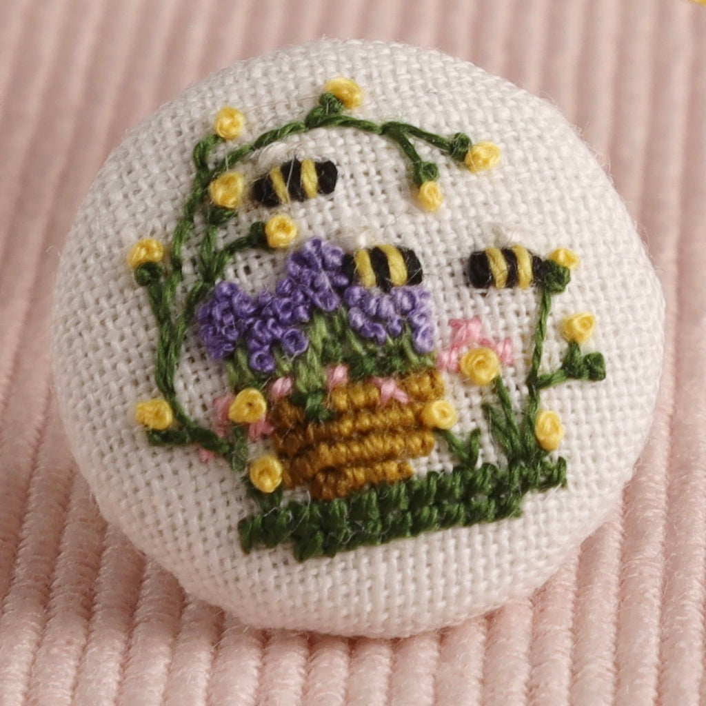 Lavender Honey: Hand-Embroidered Pin
