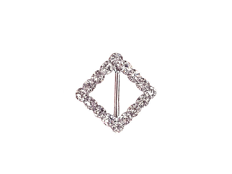 16MM DIAMOND RHINESTONE BUCKLE : SILVER