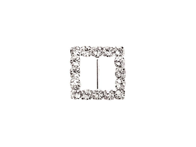 16MM SQUARE RHINESTONE BUCKLE : SILVER
