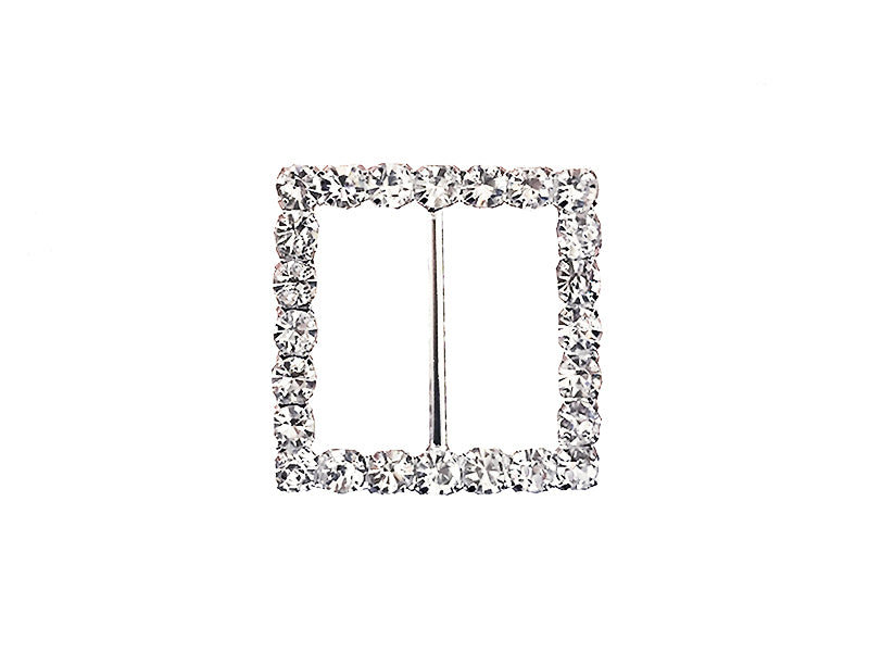 22MM SQUARE RHINESTONE BUCKLE : SILVER