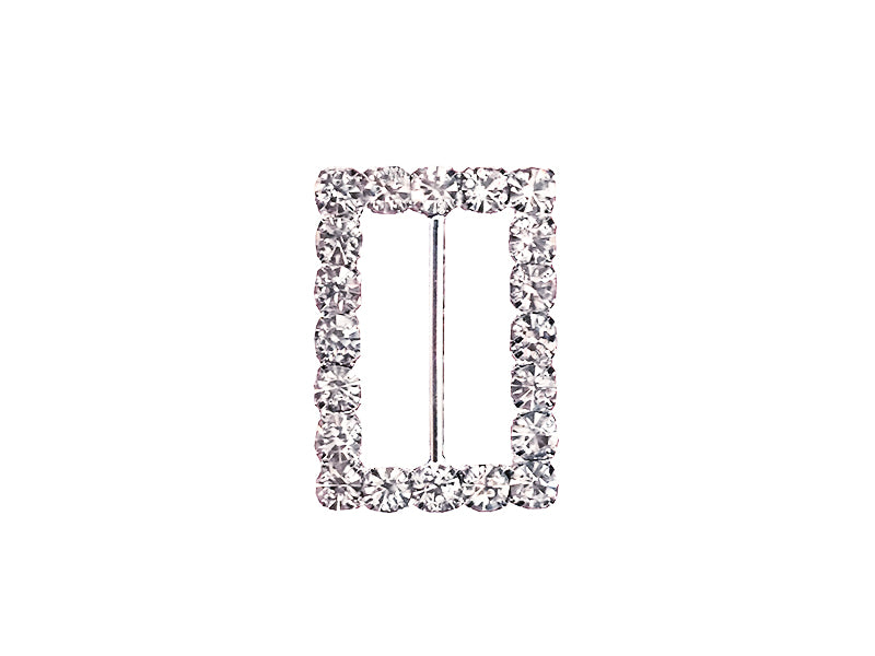22MM X 16MM RECTANGLE RHINESTONE BUCKLE : SILVER