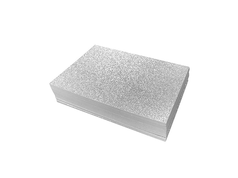 "65 Pack - 4bar Fine Glitter Panel Card (3.5""x5""): Silver"