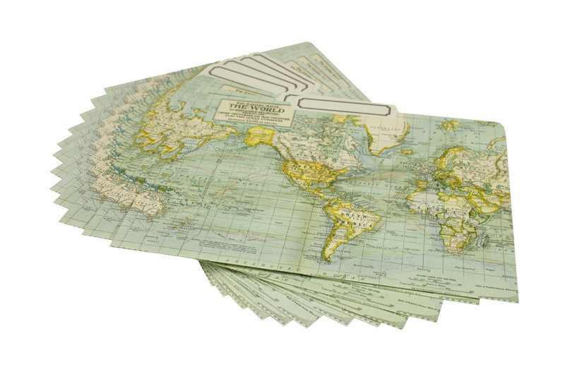 World Map File Folder Set
