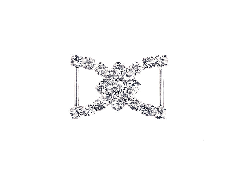 24MM X 16MM DIAMOND DOUBLE RHINESTONE BUCKLE : SILVER