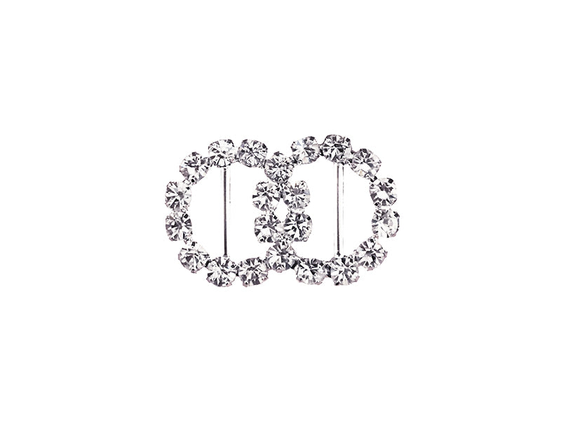26MM X 16MM DOUBLE CIRCLE RHINESTONE BUCKLE : SILVER
