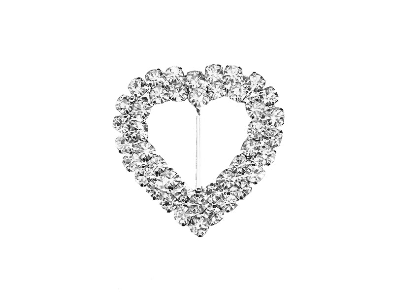 24MM X 24MM DOUBLE HEART BUCKLE : SILVER