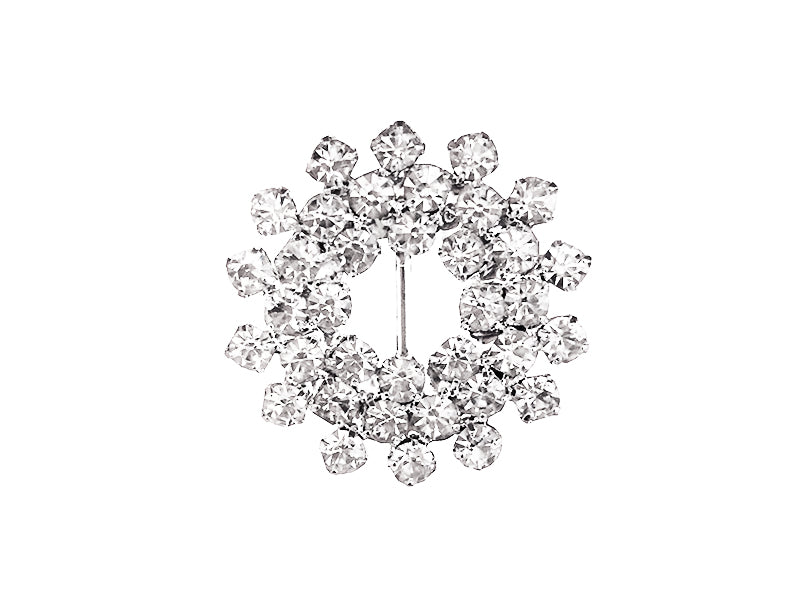 25MM FLOWER RHINESTONE BUCKLE : SILVER