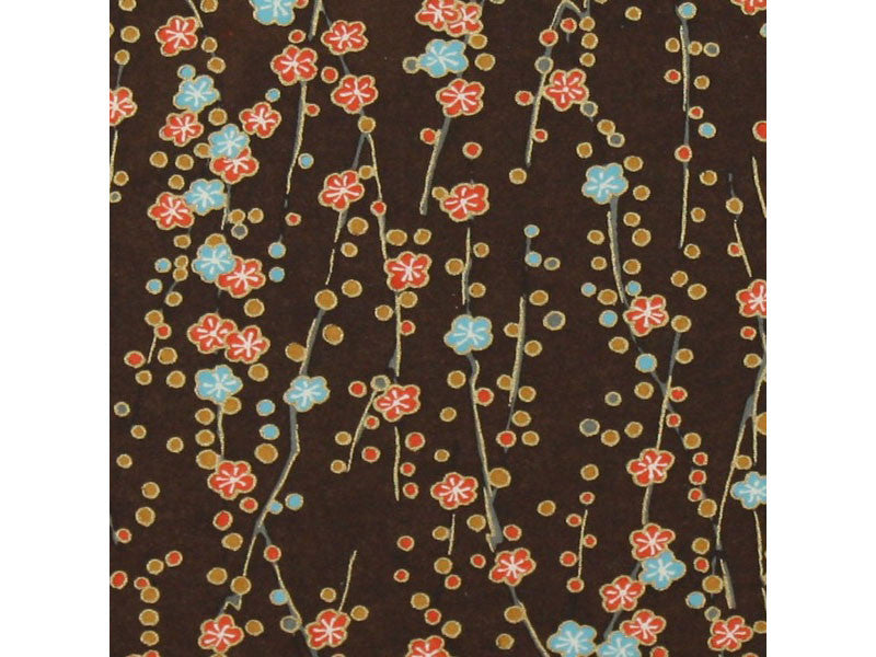 Cherry Blossom Chiyogami - Chocolate Brown, Pink, Orange