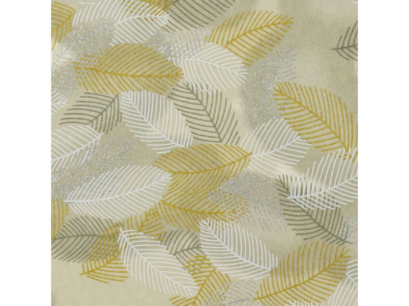 Silver, Gold & White Leaf Chiyogami