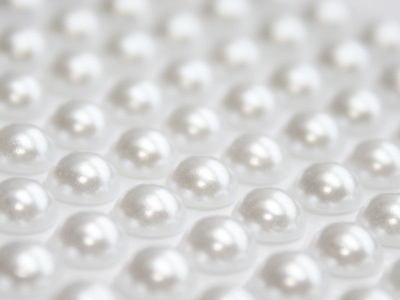 6MM PEARL STICKER FLATBACKS : WHITE