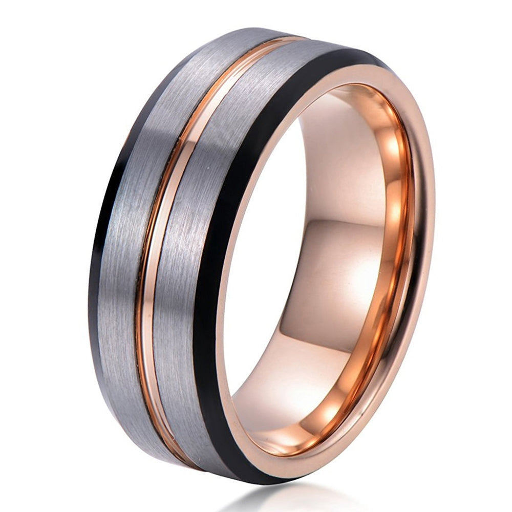 women man brushed anniversary tungsten products matching rose wedding male mens engagement carbide bands gold ring dome black band rings