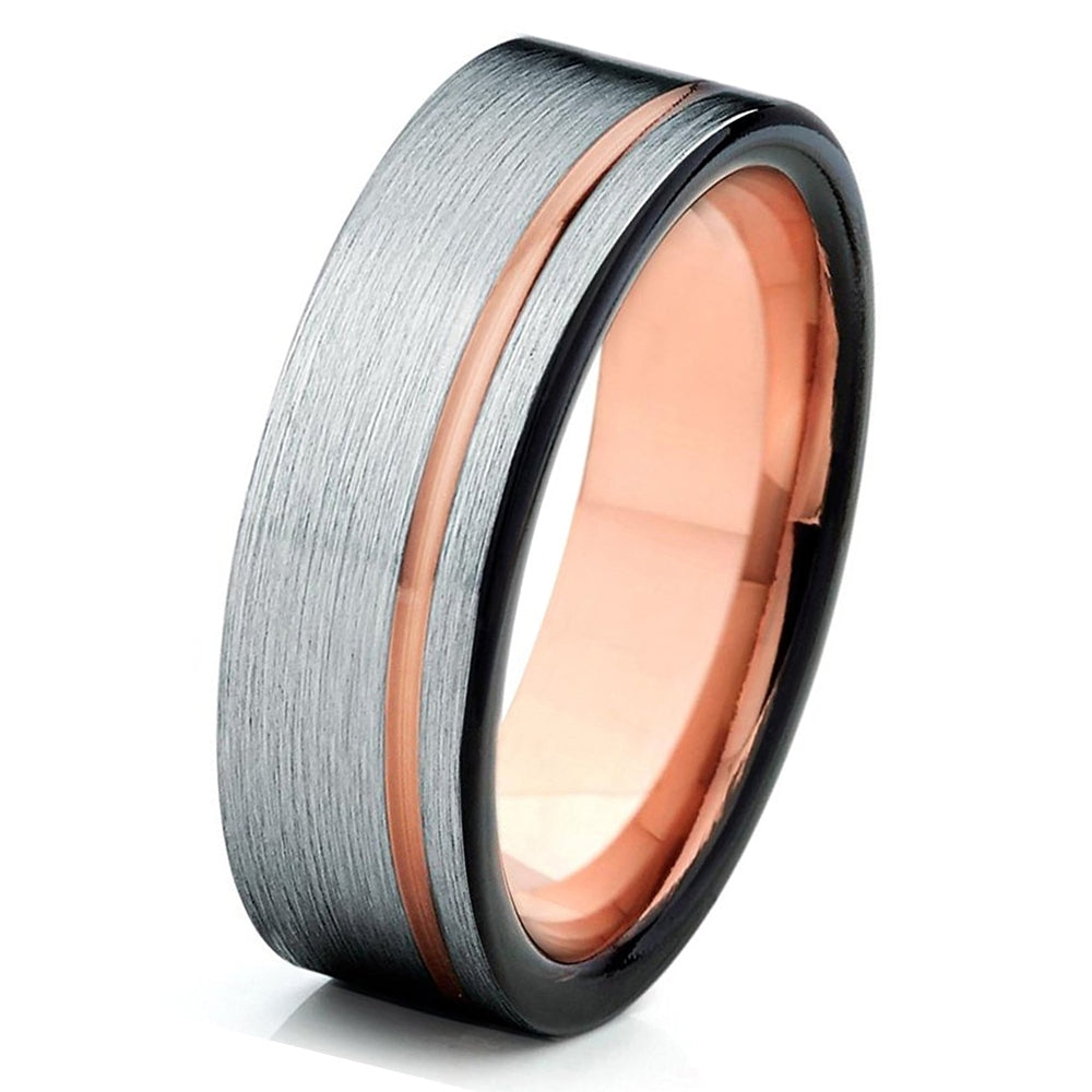 Brushed Silver Black Tungsten Ring Rose Gold Wedding Band Mens Carbide 6mm 18K