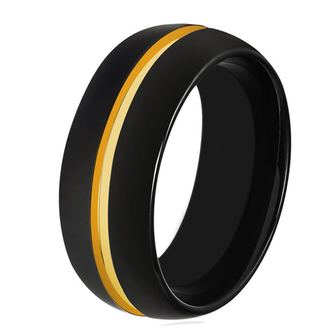 Black Tungsten And Yellow Gold Wedding Band Ring Brushed Tungsten Carbide 8mm 18K Tungsten Ring Man Wedding Band Male Women His Hers Matching Black Ring Anniversary Promise Mens Wedding Band High Polished Yellow Gold Ring - TungstenWeddingBands
