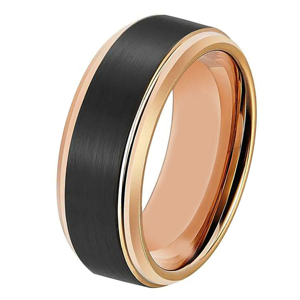 Black Rose Gold Wedding Band Ring Brushed Tungsten Carbide 8mm 18K Tungsten Ring Man Wedding Band Male Women Anniversary Matching Black Tungsten Ring - TungstenWeddingBands