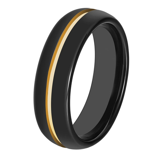Black Tungsten And Yellow Gold Wedding Band Ring Brushed Tungsten Carbide 6mm 18K Tungsten Ring Man Wedding Band Male Women His Hers Matching Black Ring Anniversary Promise Mens Wedding Band High Polished Yellow Gold Ring - TungstenWeddingBands