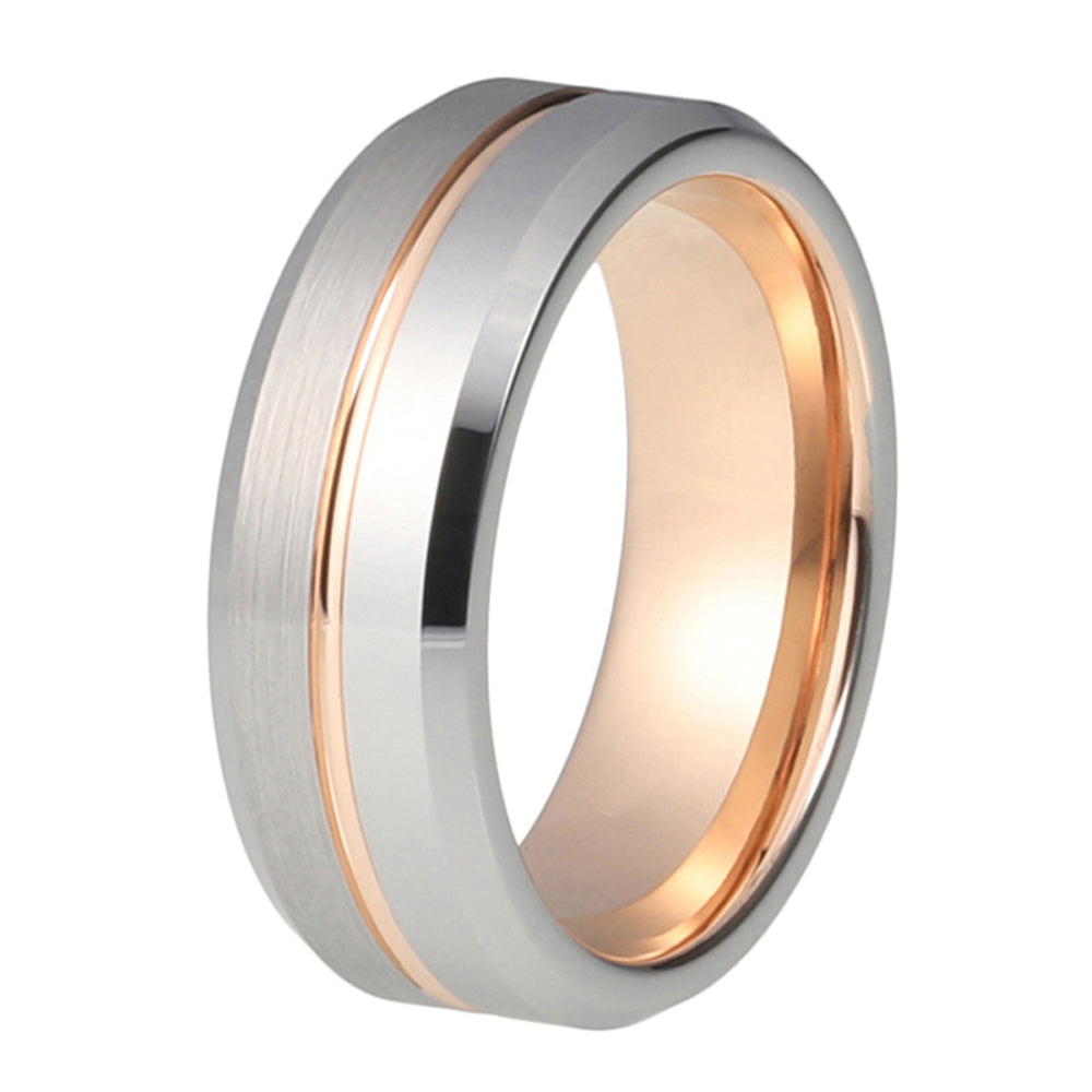 Mens Rose Gold Wedding Band Ring Brushed 8mm Tungsten Carbide Man Engagement Male Anniversary Beveled Edges Promise Silver Wedding Ring - TungstenWeddingBands