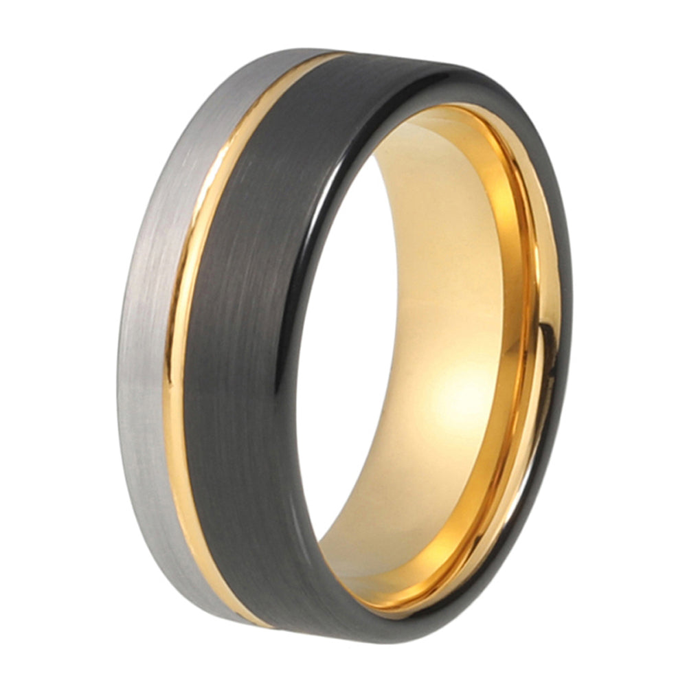 Mens Wedding Ring Yellow Gold Wedding Band 8mm Tungsten Carbide 18K Tungsten Ring Man Wedding Band Male Engagement Ring Anniversary Promise Brushed Silver Black Ring Offset Groove - TungstenWeddingBands